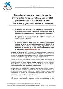 CAIXABANK LLEGA A UN ACUERDO CON EL CISI PARA CERTIFICAR LA FORMACIÓN DE SUS DIRECTORES Y GESTORES DE BANCA PERSONAL